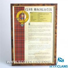 MacAlister Clan History Print