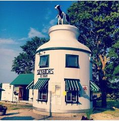 """""""Salvador's Ice Cream - tall milk can was originally located in New Bedford, Massachusetts and was moved to South Dartmouth, next to the owners' house in Bedford Massachusetts, Unusual Buildings, Interesting Buildings, Building Signs, New Bedford, Vernacular Architecture, Back Road, Roadside Attractions"""