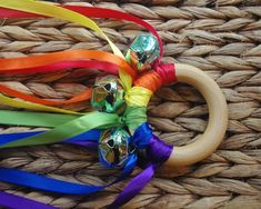 Waldorf Toy Musical Hand Kite, ROYGBV Rainbow WALDORF Toy Ribbon Streamer. $8.95, via Etsy.