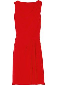 Issa red draped silk-crepe dress $ 243