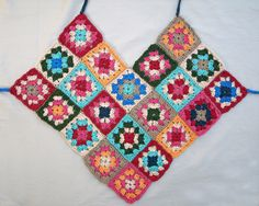 placement of the squares for the granny square crocheted halter top pattern