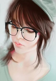 """Pastel Green"" - Karl Liversidge, illustrator {figurative art beautiful female head eyeglasses woman face cropped digital painting #loveart}"