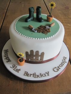 Garden and gumboot cake Gardner Cake, 90th Birthday Cakes, Birthday Ideas, Fondant, Music Cakes, Cake Quotes, Sugar Bread, Themed Cakes, Party Cakes