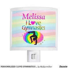 PERSONALIZED I LOVE GYMNASTICS NIGHT LIGHT Every Gymnast will be inspired with our awesome personalized I love Gymnastics Gifts https://www.zazzle.com/collections/i_love_gymnastics_personalized_gifts-119756173861570670?rf=238246180177746410&CMPN=share_dclit&lang=en&social=true  Gymnastics #Gymnast #WomensGymnastics #personalizedGymnast