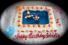 Super cute #cake for a #swim #party!  CELEBRATE easy birthday parties at home! - Milestones Miracles