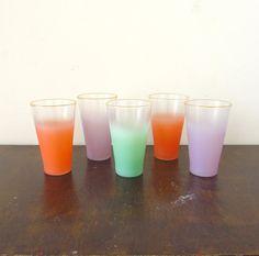 Set of 5 ombre Blendo glasses #vintage #etsy
