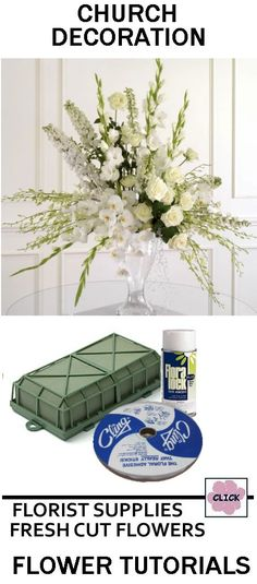 Church Wedding Decorations - Pedestal Arrangement    - Check out what florist supplies and fresh flowers needed to make a similar look.