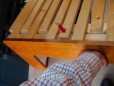 sliding section lifted -- longer slat on fixed section doing it's job Rv Sofa Bed, Diy Couch, European Kitchen Cabinets, Campervan Bed, Kombi Motorhome, Camper Beds, Sofa Bed Design, Pallet Lounge, Diy Rv