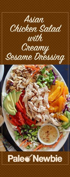 Simple and simply amazing with the awesome sesame dressing included with this recipe. Takes about 20 minutes to whip up with pre-cooked chicken. A quick and easy must-try recipe!