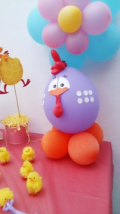 El cajón del scrap Farm Birthday, 4th Birthday Parties, Balloon Decorations, Birthday Decorations, Preschool Crafts, Easter Crafts, Barnyard Party, Bird Party, Happy Birthday Balloons