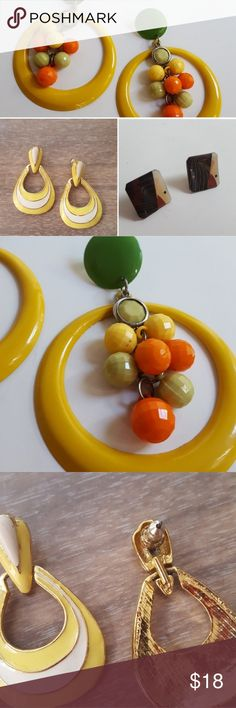 """Vintage earring bundle at great deal! What a steal! All three earrings at one price & for price of single item shipping!  Big and bold enameled metal earrings in citrus colors.3.5"""" long and 2.5"""" wide in great condition 🍋🍈🍊  Vintage door knockers in bright summer colors. Earrings measure 1.75"""" long by 1"""" at its widest point. In perfect condition for summer excursions ❤  Layered origami paper with resin make these studs very unique. They measure at just 1.75"""" and would go great with jeans…"""