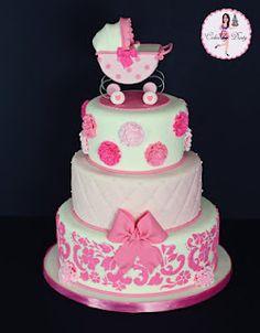 Pink and White Damask, Tufts & Mono Pink Poms Cake with Pram