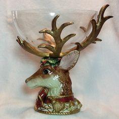 Fitz Floyd Christmas Reindeer Bowl   eBay