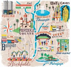 Anna Simmons - Kuala Lumpur map for National Geographic Traveller