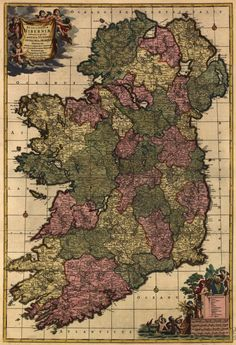 Vintage 1700 Map of Ireland Postcard