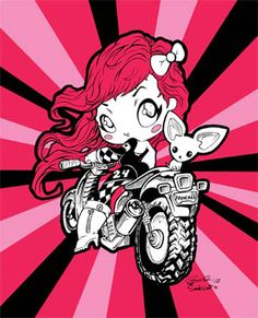 """Biker girl illustration by Casey Hirai & Sarah Lee. 8"""" x 10"""" prints are sold at ckeiji.com for $10."""