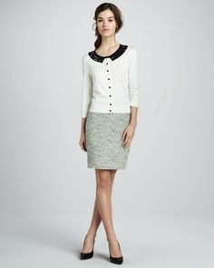 kate spade beaded sweater | kate spade new york kati beaded cardigan judy tweed pencil skirt $ 338 ...