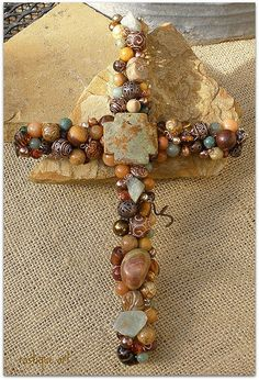 Beaded Wire Wall Cross