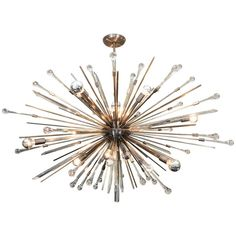 Custom Antique Brass Tear Drop Sputnik Chandelier | From a unique collection of antique and modern chandeliers and pendants at https://www.1stdibs.com/furniture/lighting/chandeliers-pendant-lights/