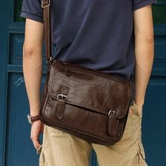 casual leather messenger bag for men #handmadeleather