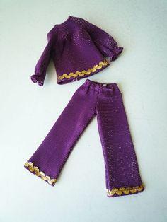 Vintage Barbie Doll Purple 2 Pc Pant Suit Gold Trim EUC #Unbranded #ClothingShoes #barbieClothes #vintageBarbie