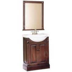 Foremost Salerno 25 in. Vanity in Espresso with White Vanity Top and Matching Mirror-HDV22 - The Home Depot