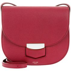 Céline Shoulder Bag - Small Tredteur Crossbody Dark Pink - in red -... (4,825 PEN) ❤ liked on Polyvore featuring bags, handbags, shoulder bags, red, red crossbody, red cross body handbags, red purse, evening purses and celine purse