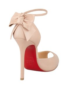 Christian Louboutin Dos Noeud Peep-Toe Ankle Wrap Red Sole Pump, Nude - Bergdorf Goodman