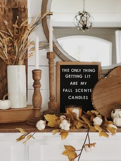 fall farmhouse fireplace mantel decor, letter board, diy, shiplap