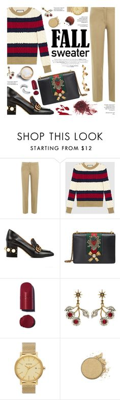 """""""fall sweater"""" by federica-m ❤ liked on Polyvore featuring Etro, Gucci, Chanel, Nixon, Anastasia Beverly Hills, Trish McEvoy, gold, gucci and fallsweaters"""