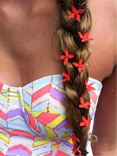 Side braid with little flowers.