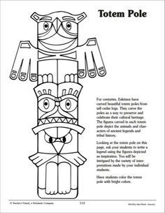 totem pole printables 32 pages … Native American Totem Poles, Native American History, Canadian History, American Symbols, American Indians, Totem Pole Craft, Pole Art, 4th Grade Art, Symbols And Meanings