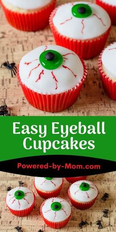 Whether you're making these with the kids or for yourself these Eyeball Cupcakes are a fun and tasty treat for Halloween. #cupcakes #halloween #halloweentreat #halloweencupcakes #eyeballcupcakes #desserts Cute Halloween Food, Halloween Cupcakes Easy, Halloween Eyeballs, Halloween Cookie Recipes, Halloween Cookies, Easy Halloween, Halloween Desserts, Halloween Treats For Kids, Halloween Games