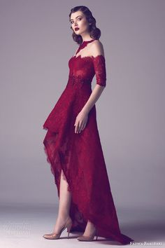 fadwa baalbaki spring 2015 couture deep red half sleeve lace dress high low skirt