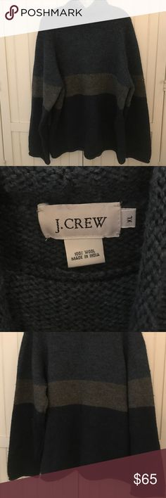NEW! Men's J Crew Sweater Men's navy blue, gray and royal blue J Crew turtleneck sweater. Sweater is size XL and 100% wool. There is some natural pilling from the wool, but no holes, pulls or tears. J. Crew Sweaters Turtleneck