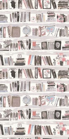 A faux library wall, book shelf wallpaper design with a hand-painted effect by Kate Spade. #BooksShelf