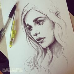 Belos rostos femininos nas ilustrações de Katarzyna Kozlowska