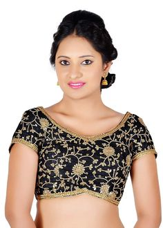 064ed24fd93de1 Salwar Studio Women's Black Color Dupion Silk Readymade Embriodered Saree  Blouse: Amazon.in: