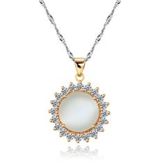 925 Sterling Silver Rose Gold Plated Round Opal CZ Diamonds Around Dazzling Sun Flower Pendant Necklace 18
