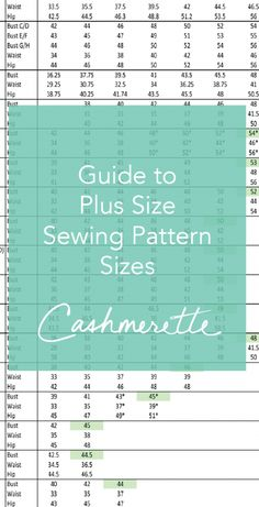 Guide to Plus Size Sewing Pattern Sizes – updated!                                                                                                                                                                                 More