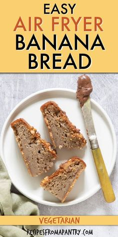 This air fryer banana bread is moist, flavorful, satisfying, and overall amazing! If you haven't used the air fryer to bake yet, you are seriously missing out! Air fried banana bread is so easy to make with a handful of pantry staples & overripe bananas. Crispy on the outside & topped with with nuts & great for breakfast,brunch & meal prep . Click through to learn how to make Air Fryer Banana Bread recipe!! #airfryer #airfryerrecipes #airfryerbananabread #bananabread #bananarecipes…