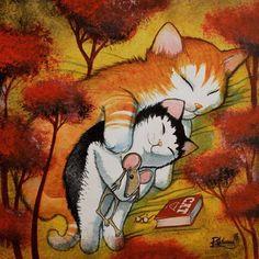 The long night of cat===Original Painting by Raphaël Vavasseur art