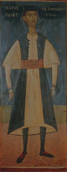 """ΦΩΤΗΣ ΚΟΝΤΟΓΛΟΥ: """"Κώστας Σδράβος εκ Σαμαρίνας"""" """" Η παρούσα ζωγραφία εφιλοτεχνήθη όπως εν σχήμασι γραπτοίς διαμένη πρό τών ομμάτων εις αιώνα ο κύκλος τής ελληνικής φυλής, από τών πρώτων αυτής προπατόρων μέχρι τών καθ' ημάς…Εζωγραφήθη δέ μετά πόθου καί φιλοτιμίας πολλής φαντασία καί χειρί Φωτίου Κόντογλου τού εκ Κυδωνιών τής Μικράς Ασίας"""" Painting, Art, Art Background, Painting Art, Kunst, Paintings, Performing Arts, Painted Canvas, Drawings"""