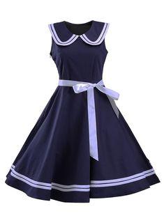 Sailor Collar Sleeveless Skater Dress