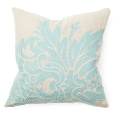 Check out this item at One Kings Lane! Flora 18x18 Linen Pillow, Turquoise
