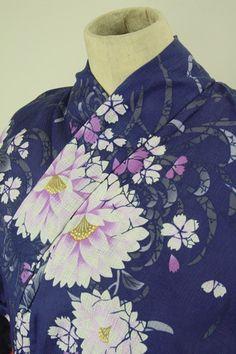 Blue purple yukata / 青紫色地 上品なピンクの花柄 麻混浴衣   #Kimono #Japan  http://www.rakuten.co.jp/aiyama/