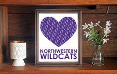 Northwestern University NU Wildcats Heart Print