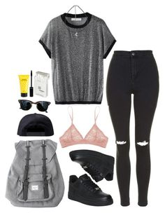 """""""elliott smith-angeles"""" by paramorebianka ❤ liked on Polyvore featuring Topshop, Herschel, Black Scale, NIKE, Ray-Ban, Dunhill and Marc Jacobs"""