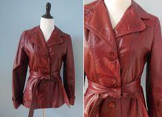 Vintage short LEATHER JACKET / belted jacket / sleek oxblood leather trench by NorthOfMain