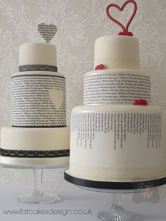 Quirky text wedding cakes with hearts. A great way to include a meaningful story or poem, song lyrics or vows onto your wedding cake.
